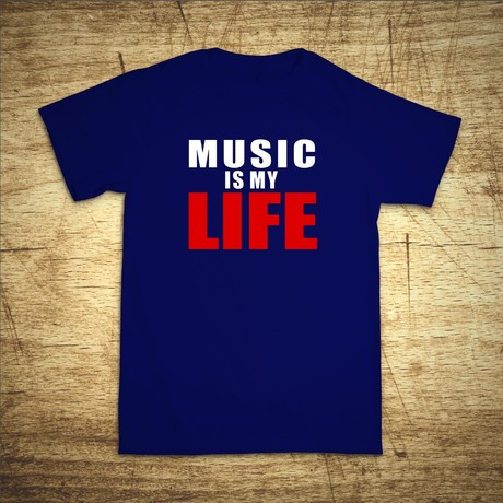 Tričko s motivem Music is my life